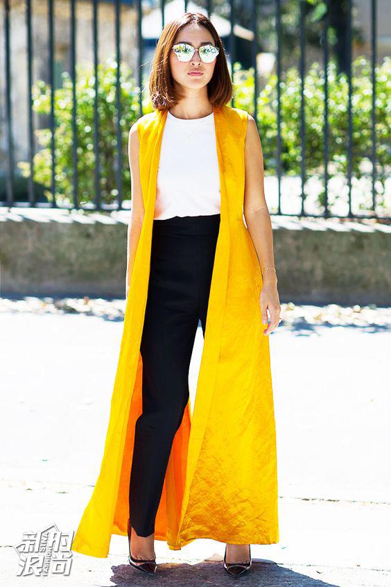 时尚达人穿黄色街拍
