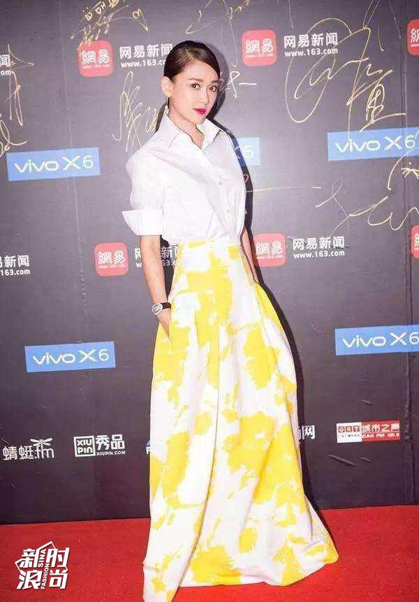 陈乔恩穿黄色礼服走红毯