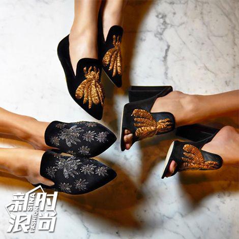 Sanayi313的刺绣平底拖鞋