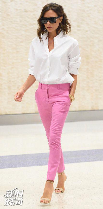 贝嫂穿粉色配白色