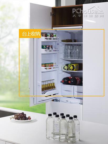 镶嵌在橱柜中的迷你小冰箱