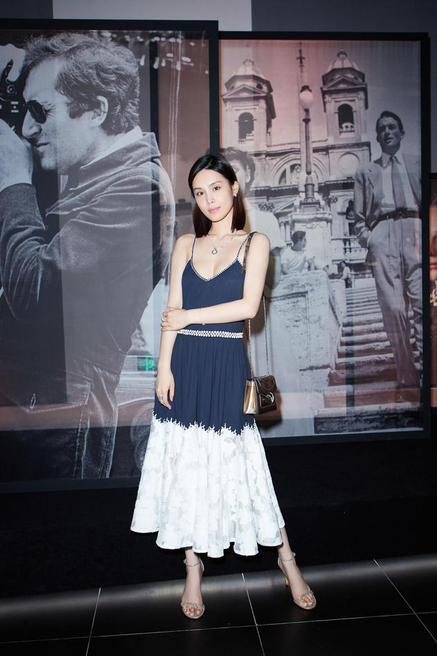 Chen lin black and white dress