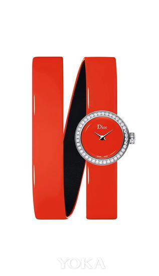 la mini d de dior wraparound系列高级腕表 荧光橘色