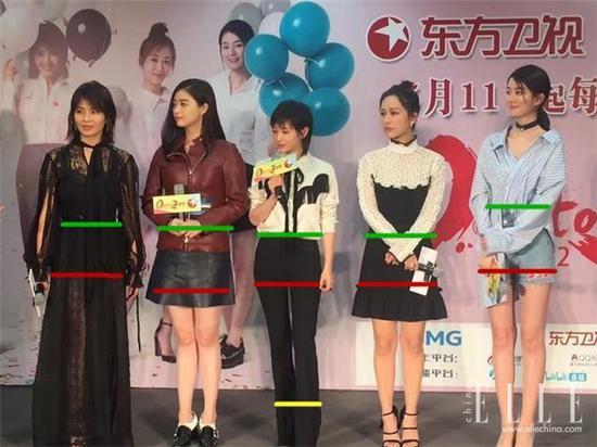 王子文跟平均身高都在170cm左右的四美站在一起也并不黯然失色