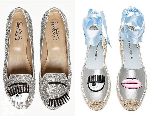 chiara ferragni的眼睛系列平底鞋