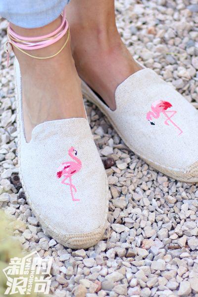 Soludos可爱的火烈鸟渔夫鞋