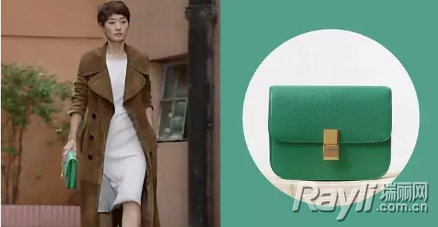 罗子君拿绿色celine包包