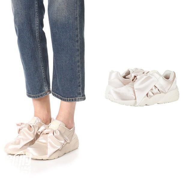白色的Puma Fenty丝绸打结运动鞋