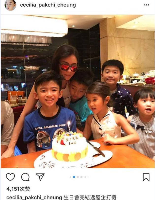 张柏芝给儿子过生日