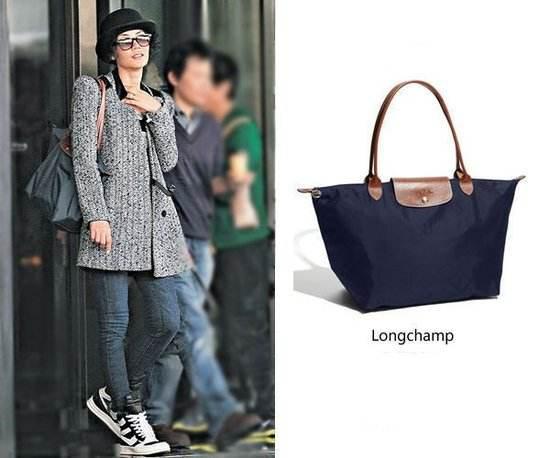 王菲背Longchamp饺子包