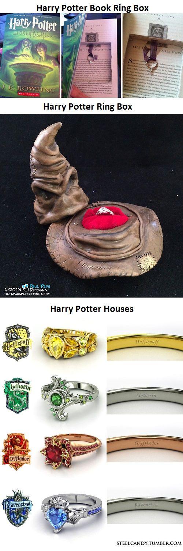在书中挖洞放戒指、分院帽戒指盒和四个学院对应的求婚戒指