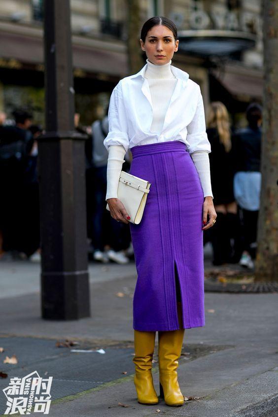 白色配紫色街拍