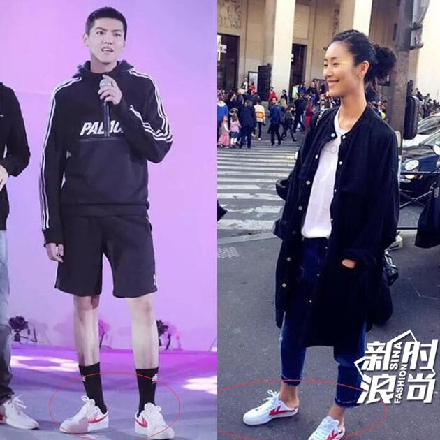 吴亦凡,刘雯穿回力运动鞋