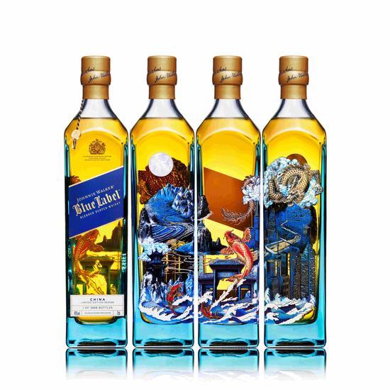 尊尼获加蓝牌全新「鱼跃前行 龙腾海阔」限量版系列图