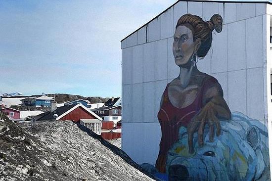斯蒂芬·鲍德松和吉多·范·黑尔滕在努克住宅区的墙上创作了这些画像。图片来源:Kari Herber