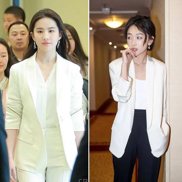 刘亦菲,周冬雨穿白色西服造型