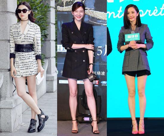 女明星穿西服裙秀美腿