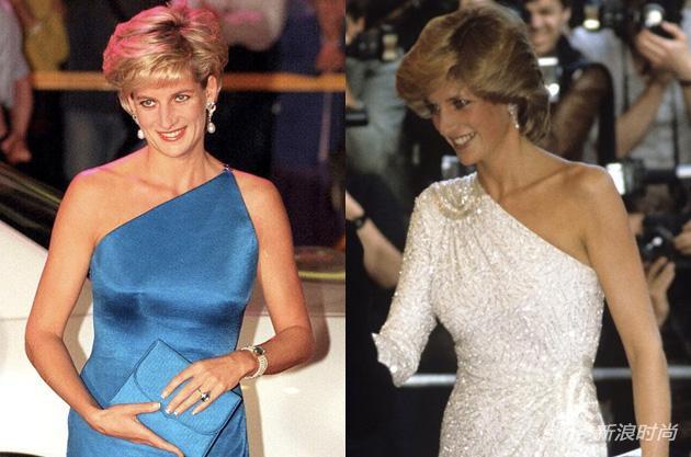 斜肩设计的礼服也是她的爱
