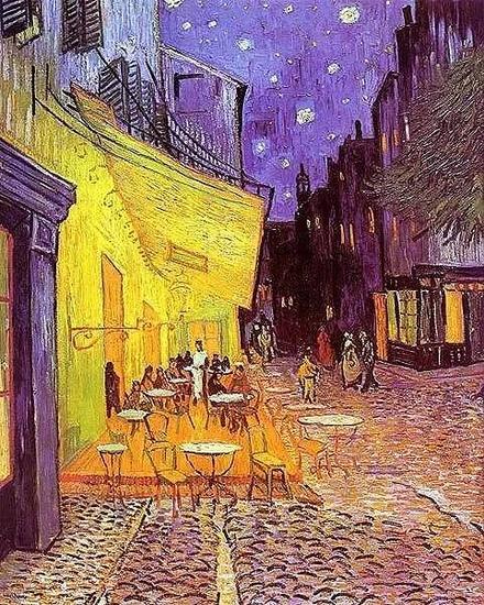 文森特・梵高《夜晚露天咖啡座》,1888年