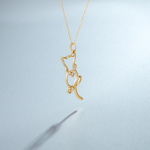 CIRCLE珠宝 10K黄金钻石小猫项链