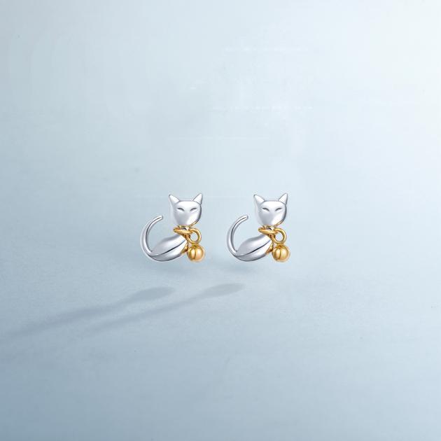 CIRCLE珠宝 白金黄金混搭小猫耳钉