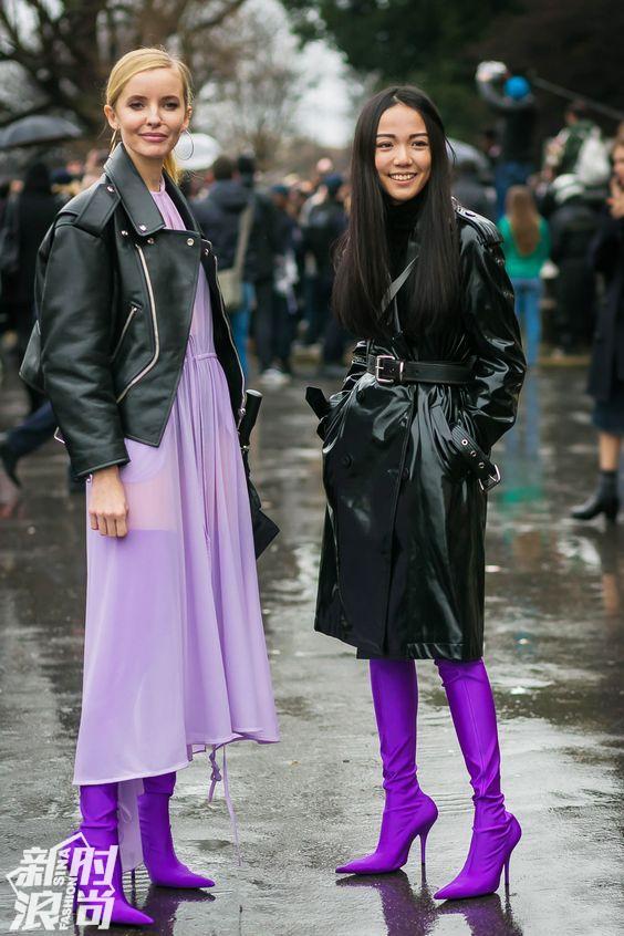 紫色配黑色街拍
