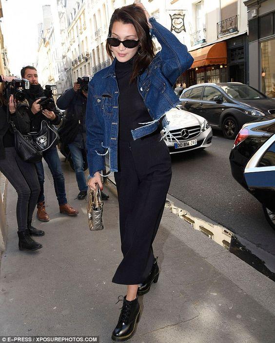 Bella穿衣摆撕裂款牛仔外套