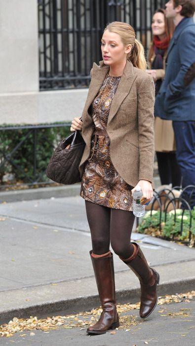 Serena穿复古西服