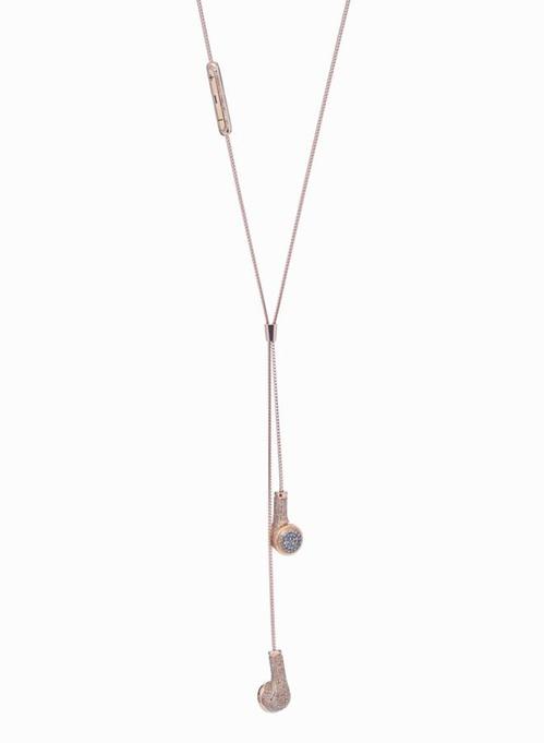 钻石玫瑰金耳机项链