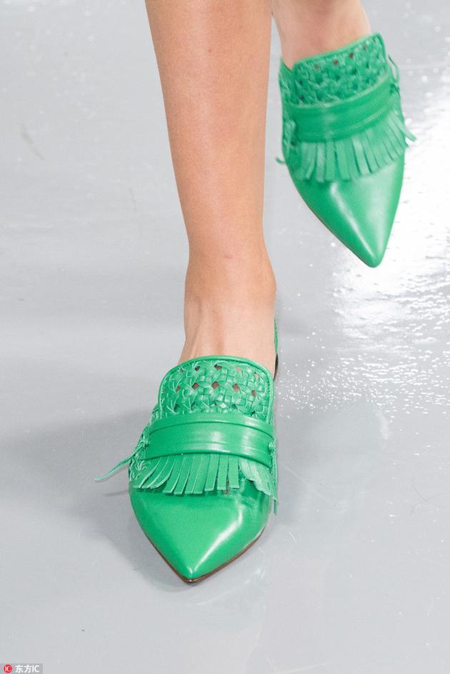 PORTS绿色复古单鞋