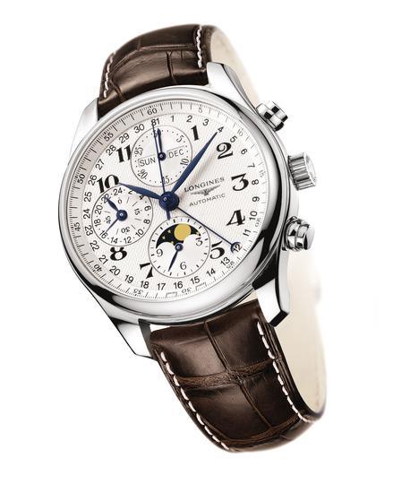 浪琴表名匠系列精钢月相计时腕表