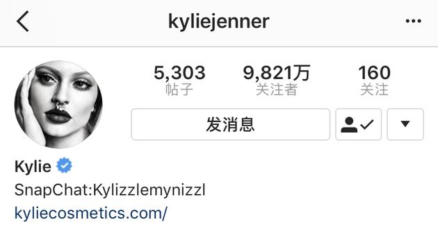 Kylie Jenner变ins网红