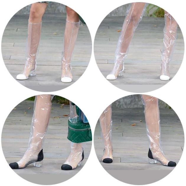 透明双色鞋