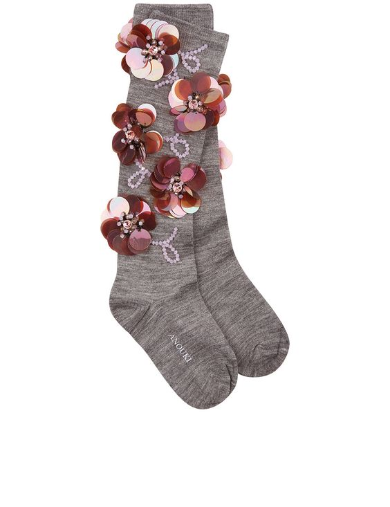 ANOUKI灰色装饰袜