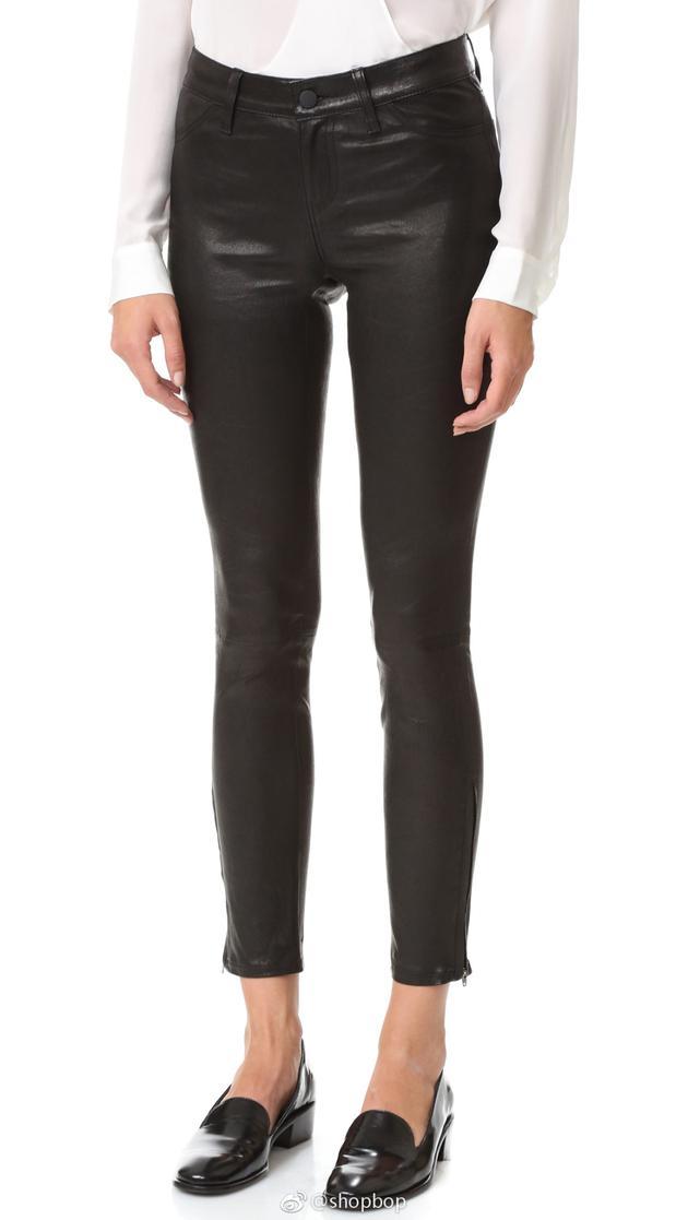 Kaia Gerber同款L AGENCE皮革贴腿裤