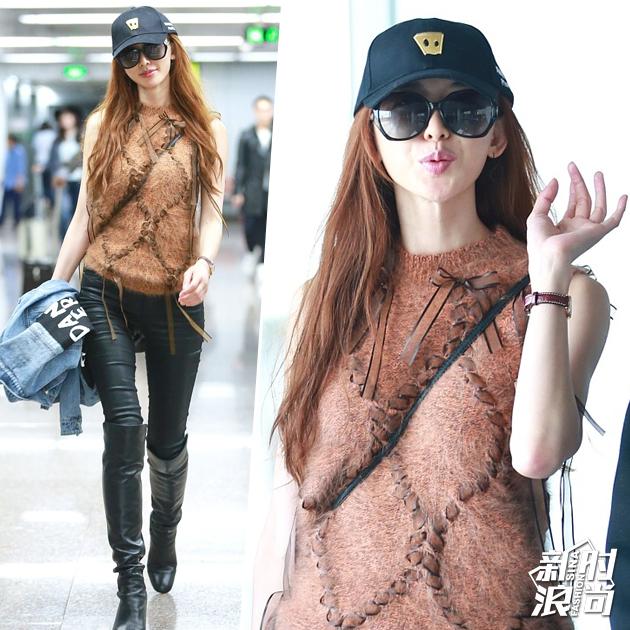 林志玲机场穿皮裤