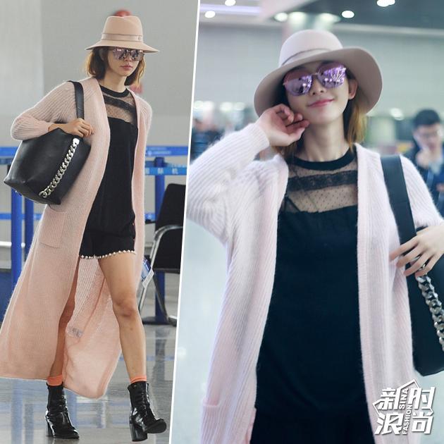 林志玲机场穿粉嫩开衫