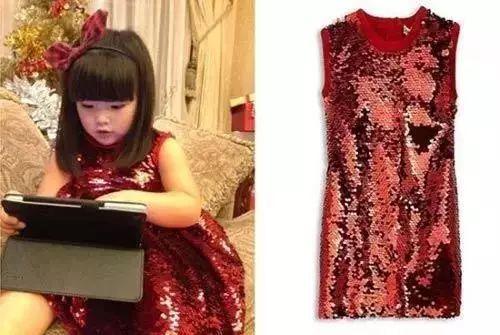 王诗龄穿Dolce & Gabbana红色亮片连衣裙