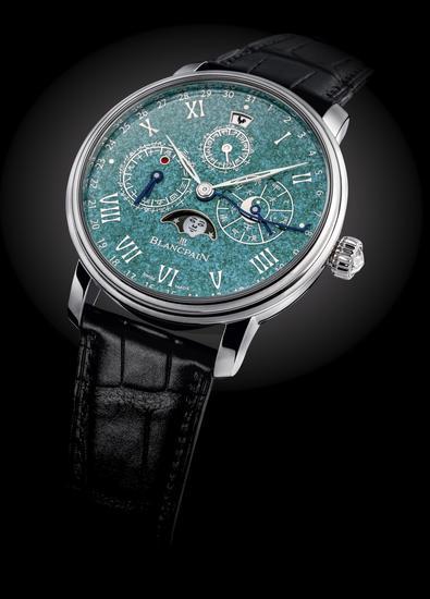 宝珀Villeret经典系列中华年历翡翠绿珐琅孤品腕表
