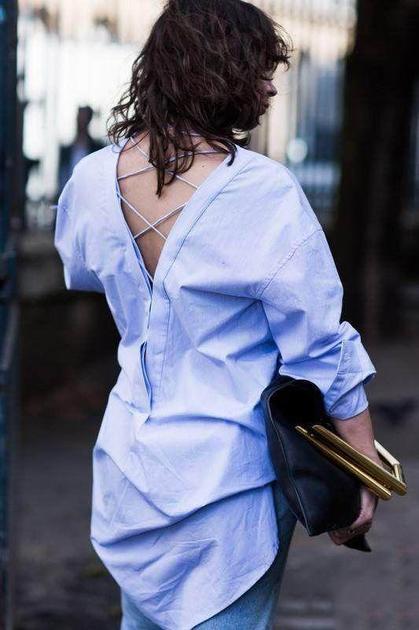 街拍中的衬衫反穿