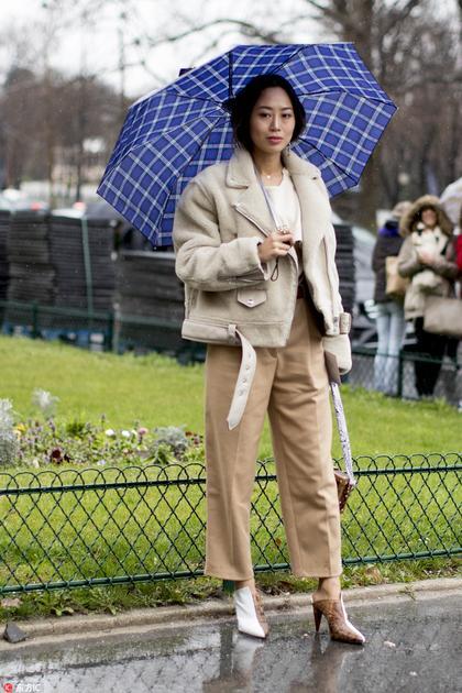 时尚达人穿羊羔绒外套街拍