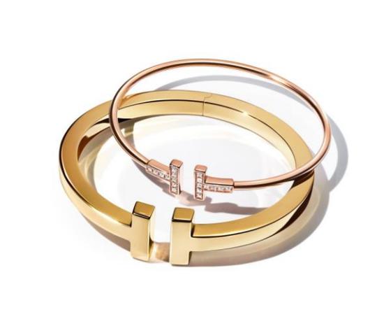 Tiffany & Co.蒂芙尼T系列18K玫瑰金镶钻细款手镯;Tiffany & Co.蒂芙尼T系列18K黄金手镯