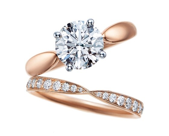 The Tiffany Setting蒂芙尼玫瑰金六爪镶嵌钻戒、Tiffany Harmony™ 18K 玫瑰金镶钻戒指。
