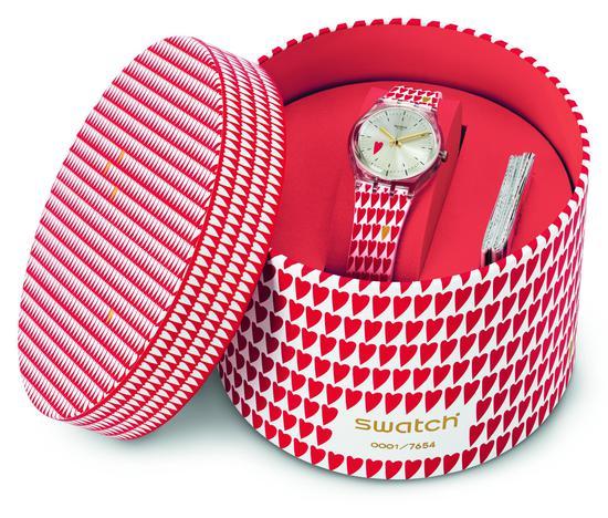 "Swatch全心全意""腕表,限量发行7654枚。"