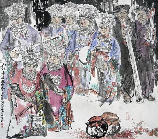 买莘民《山歌美酒迎客来》150cmx150cm 国画2008年