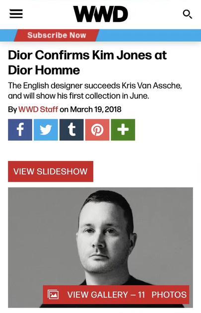 前LV男装创意总监接棒Dior Homme
