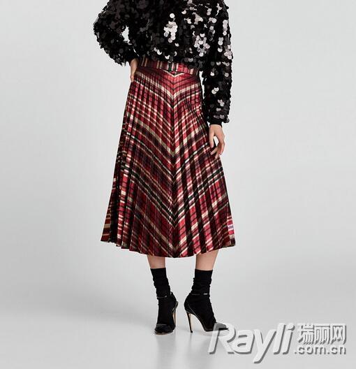 Zara条纹亮丝百褶裙 299 RMB