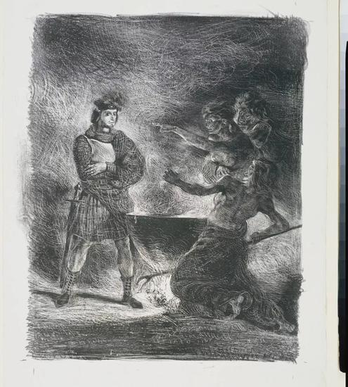 欧仁·德拉克洛瓦,《麦克白与女巫》(Macbeth and the Witches,1825)