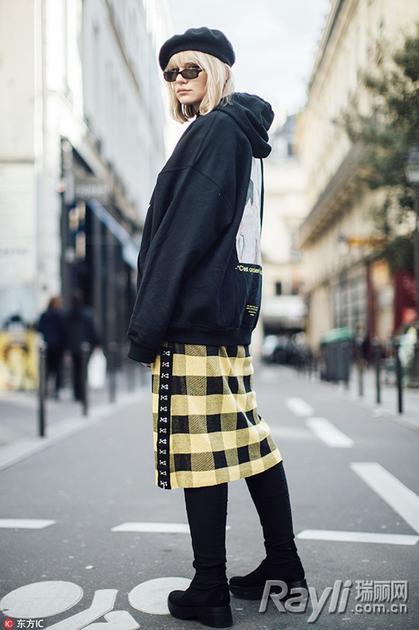 格纹裙街拍
