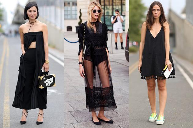 小黑裙时尚街拍